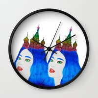 russia Wall Clocks featuring Russia by Luna Portnoi