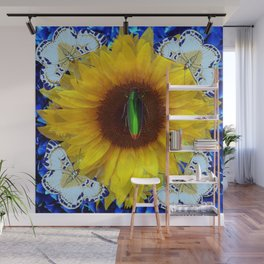EMERALD GOLD BUG ON SUNFLOWER BUTTERFLY Wall Mural