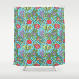 Seven Species Botanical Fruit and Grain with Aqua Background Shower Curtain