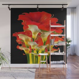 RED FLORALS & YELLOW CALLA LILIES BLACK ART Wall Mural