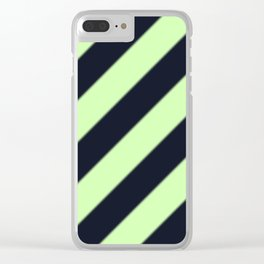 Black and Green Diagonal Stripes Clear iPhone Case