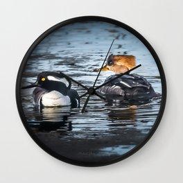 Hooded Merganser Pair Wall Clock