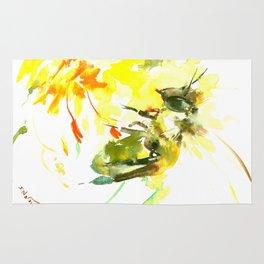 Honey Bee and Yellow Flower Rug