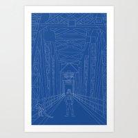 blueprint Art Prints featuring Blueprint by Sophie Broyd