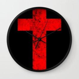 Cross (distressed red)  Wall Clock