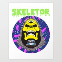 skeletor Art Prints featuring Skeletor by Michael Keene