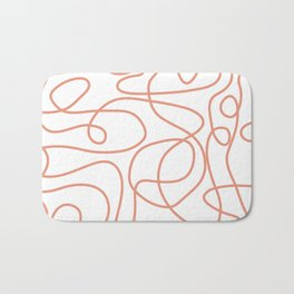 Doodle Line Art | Coral Lines on White Background Bath Mat