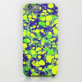 navy blue and green coloured marbling art iPhone Case