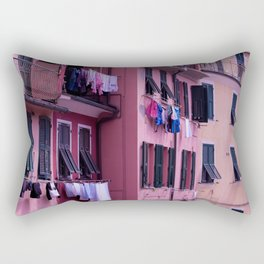 Tuscan building with its typical windows and balconies with clothes drying in the sun Rectangular Pillow