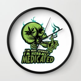 A Unique Detailed Marijuana Tee For Yourself? T-shirt For You I'm Not Stoned I'm Herbally Medicated Wall Clock