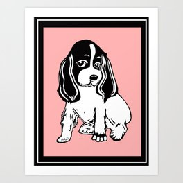 Black and White Cocker Spaniel Art Art Print
