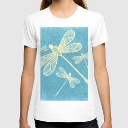 Abstract dragonflies in yellow on textured blue T-shirt