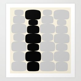Abstraction_Balance_ROCKS_BLACK_WHITE_Minimalism_001 Art Print