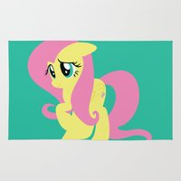 mlp Area & Throw Rugs featuring Fluttershy by Adrian Mentus