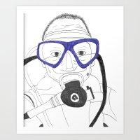 scuba Art Prints featuring Scuba by Margaret Rose