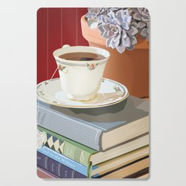 Teacup, Childhood Books, & Succulent Plant Cutting Board