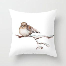Winter Sparrow  Throw Pillow