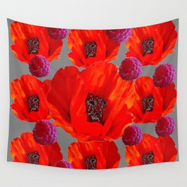 SUCCULENT PURPLE RASPBERRIES & ORANGE POPPIES ABSTRACT Wall Tapestry