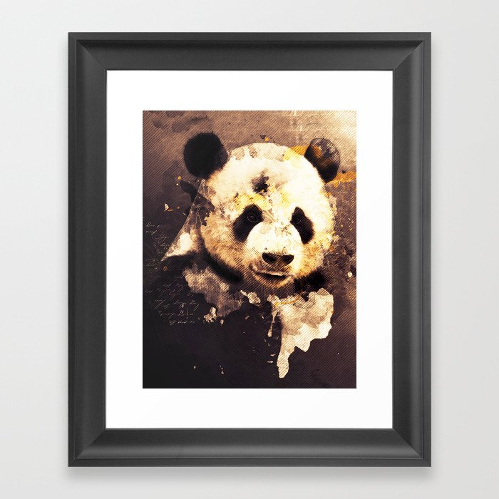 Panda Painting Abstract Art Bears Black And White Animals Brown Moden Decor Vintage Style Framed Art Print By Joannejgg