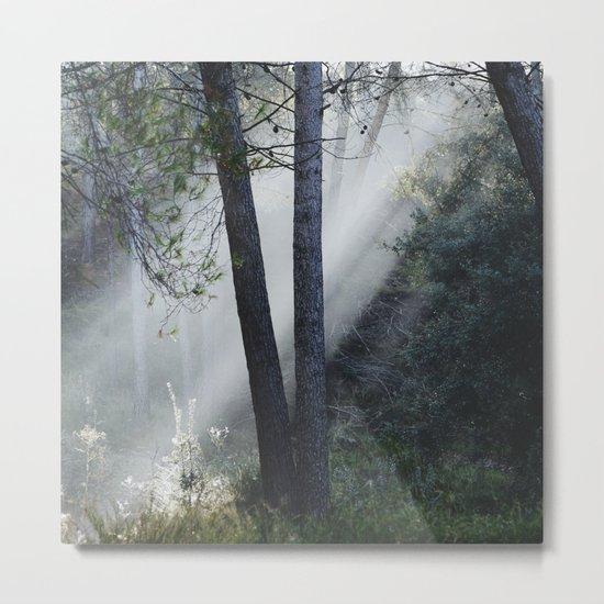 """Sunrays through the foggy forest"". Retro dreams.... Metal Print"