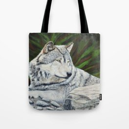 Gray Wolf in the Forest Tote Bag