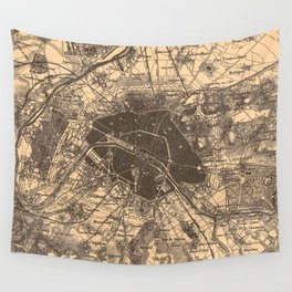 Vintage Map of Paris France (1907) 2 Wall Tapestry