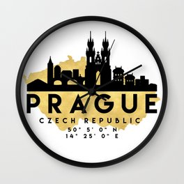 PRAGUE CZECH REPUBLIC SILHOUETTE SKYLINE MAP ART Wall Clock