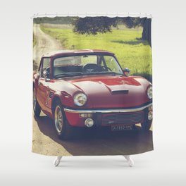 Triumph Spitfire, classic British sportscar, English Auto fine art print, old car Shower Curtain