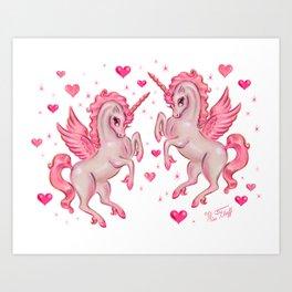 Pink Unicorn Pegasus Art Print