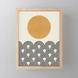 Sun & Wave - Oriental Pattern Framed Mini Art Print