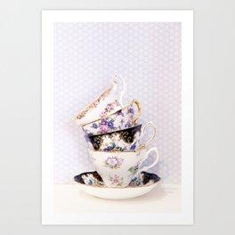Blue Teacup Stack Art Print