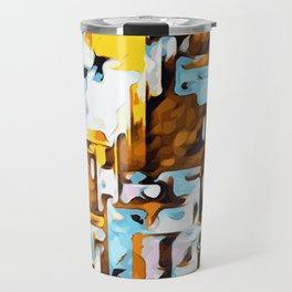 yellow brown and blue Travel Mug