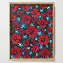 Carnations & Columbine Flowers Serving Tray