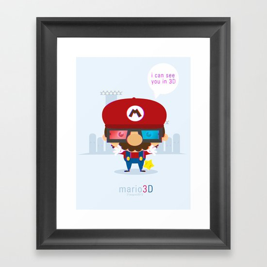 mario 3d Framed Art Print