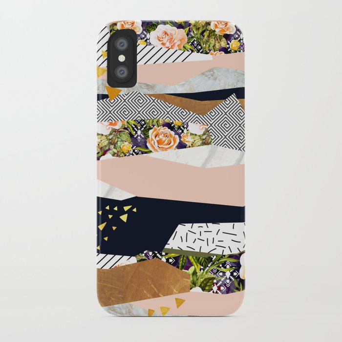 Collage of textured shapes and flowers iPhone Case
