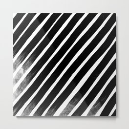 Retro Abstract Black Brush Set, No 02 Metal Print