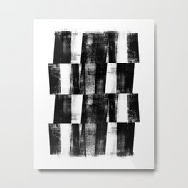 Black and White Handmade Graphic Abstract Pattern Metal Print