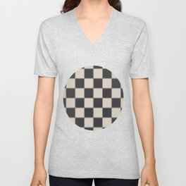 Traditional Checkerboard, Ecru-Beige and Chocolate-Deep Brown Unisex V-Neck