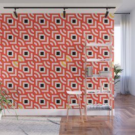 Round Pegs Square Pegs Red-Orange Wall Mural