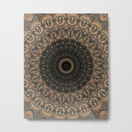 Wooden mandala with dark ornaments Metal Print
