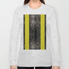 Gothic tree striped pattern mustard yellow Long Sleeve T-shirt