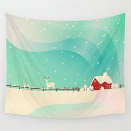 Peaceful Snowy Christmas (Teal) Wall Tapestry