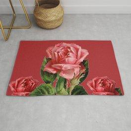 ROSE MADDER ANTIQUE VINTAGE ART PINK ROSES Rug