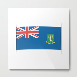 Flag of British Virgin Islands. The slit in the paper with shadows.  Metal Print