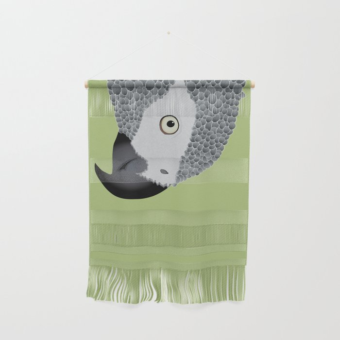 African Grey Parrot [ON MOSS GREEN] Wall Hanging