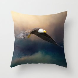 Painting flying american bald eagle Throw Pillow