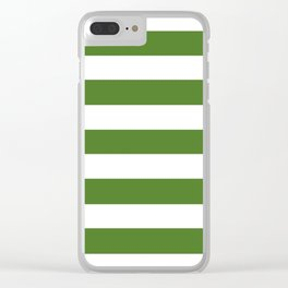Sap green - solid color - white stripes pattern Clear iPhone Case