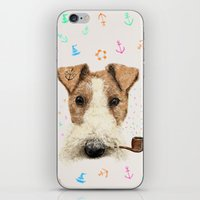 terrier iPhone & iPod Skins featuring fox terrier sailor by dogooder