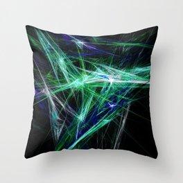 Green light beam Throw Pillow