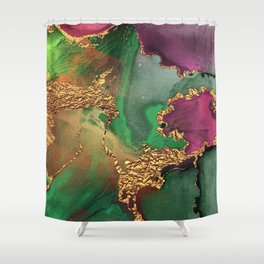 Trendy Glitter Gold, Green, and Pink Paint Texture Shower Curtain